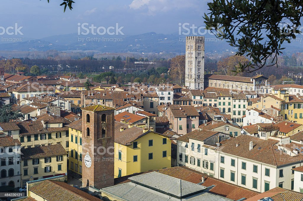 Aerial view of Lucca, Italy royalty-free stock photo