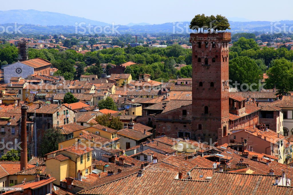 Aerial view of Lucca medieval cityscape, buildings old town, panorama from above, Tuscany, Italy stock photo