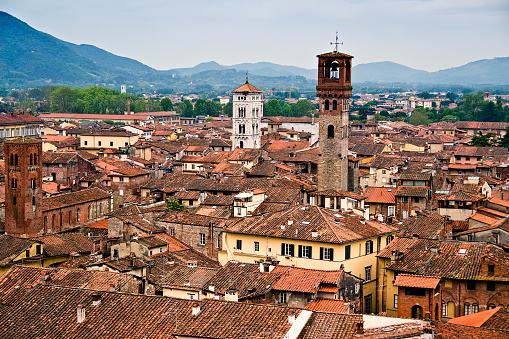 istock Aerial view of Lucca, seen from the top of the Torre Guinigi - Tuscany, Italy 873519882