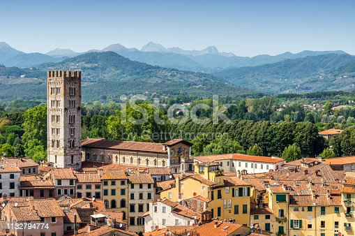 Aerial view of Lucca village in Tuscany. Italy