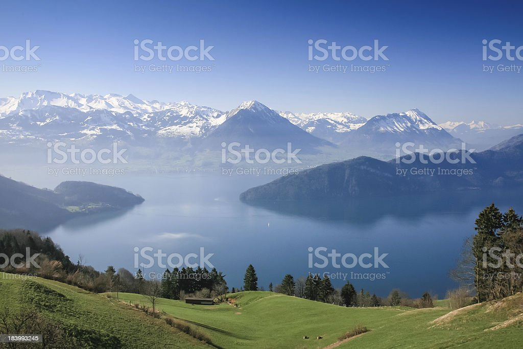 Aerial view of Lucerne lake stock photo