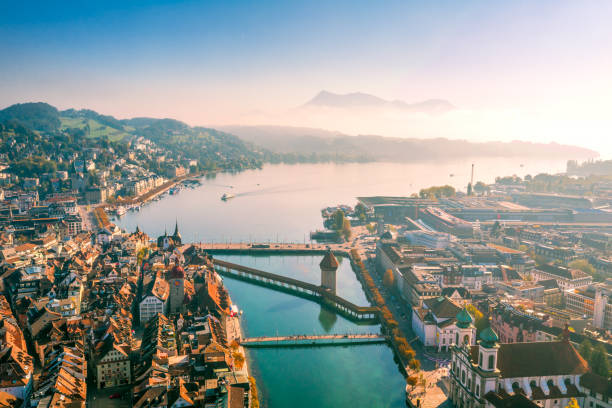 aerial view of lucerne old town - lucerne stock pictures, royalty-free photos & images