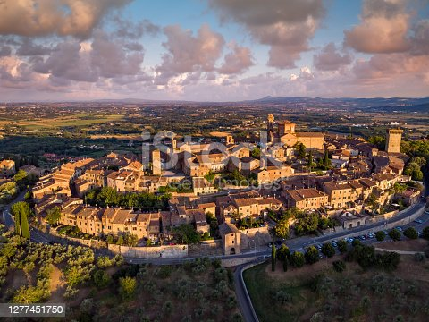 Sunset golden hour Drone view of Lucignano fort town in Tuscany, Italy