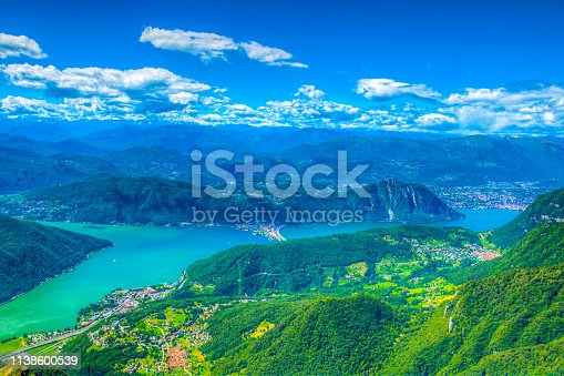Aerial view of Lugano lake from Monte Generoso, Switzerland