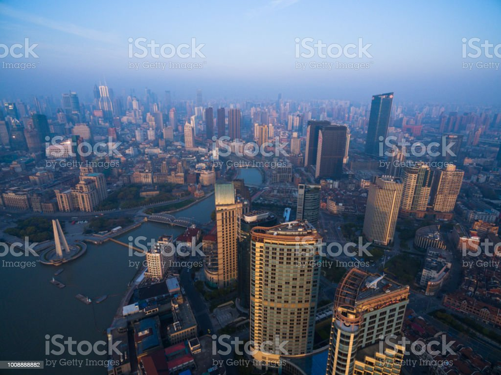 aerial view of  Lujiazui shanghai China Cityscape in the morning stock photo