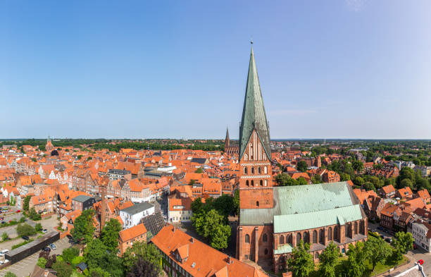 Aerial view of Luneburg, Germany Aerial view of Hanseatic city of Luneburg, Germany lüneburg stock pictures, royalty-free photos & images