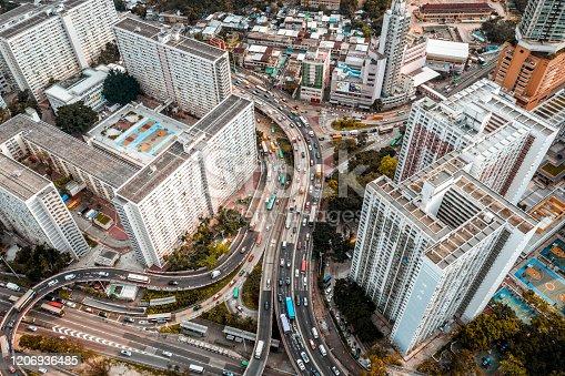 Aerial view of Lung Cheung Rd. between Choi Hung Estate and Ping Shek, Kowloon, Hong Kong.