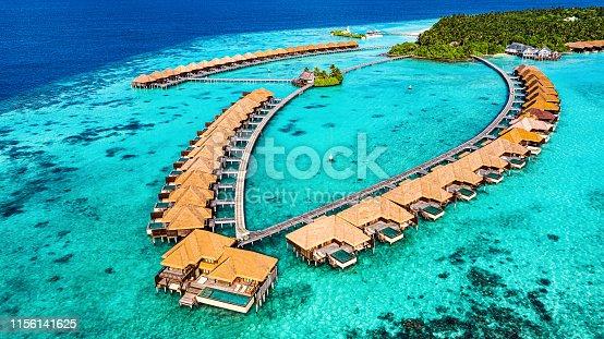Aerial View of Luxury Resort in Maldives, Ayada Island