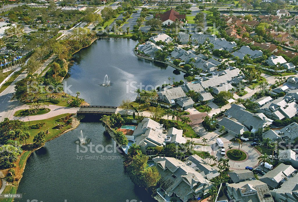 aerial view of luxury south florida community royalty-free stock photo