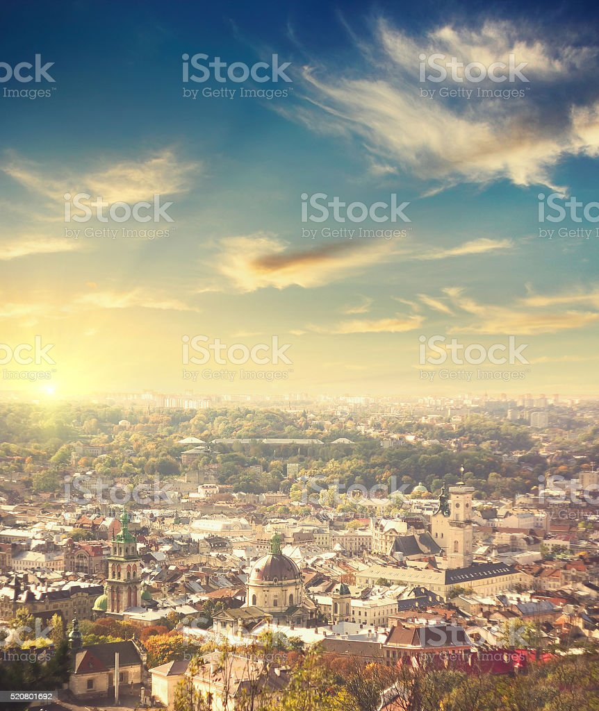 aerial view of Lviv  at sunset stock photo