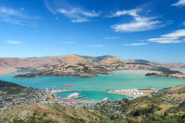 Aerial view of Lyttelton port from the top of Christchurch Gondola Station at Port Hills. stock photo