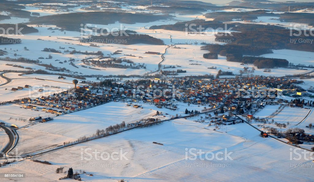 Aerial view  of Machtolsheim on the Swabian Alps, south germany on a sunny winter day stock photo