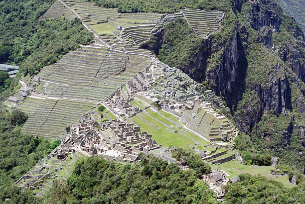 Aerial view of Machu Picchu ancient ruins Peru stock photo