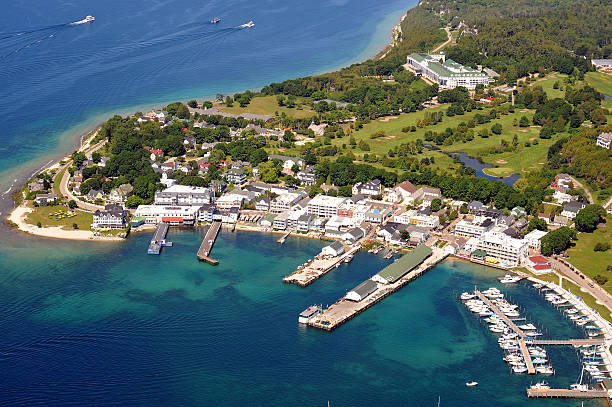 aerial view of mackinac island, michigan, usa - mackinac island stock photos and pictures