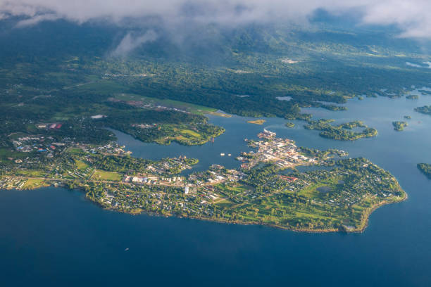 Aerial view of Madang, Papua New Guinea stock photo
