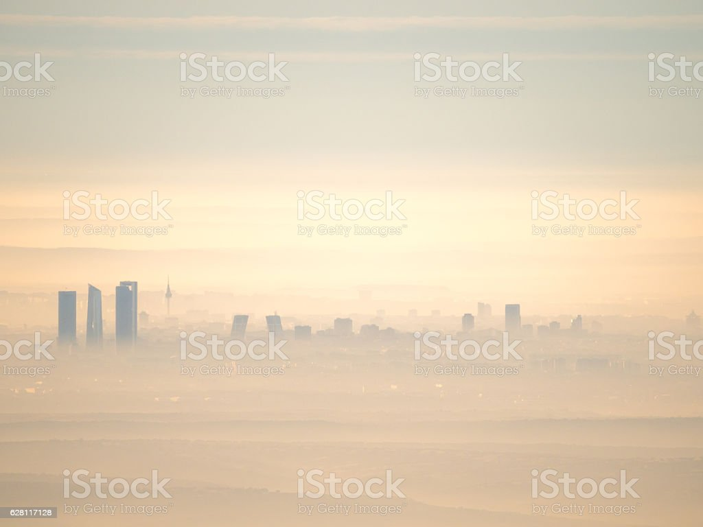 Aerial view of Madrid city with fog in the morning stock photo