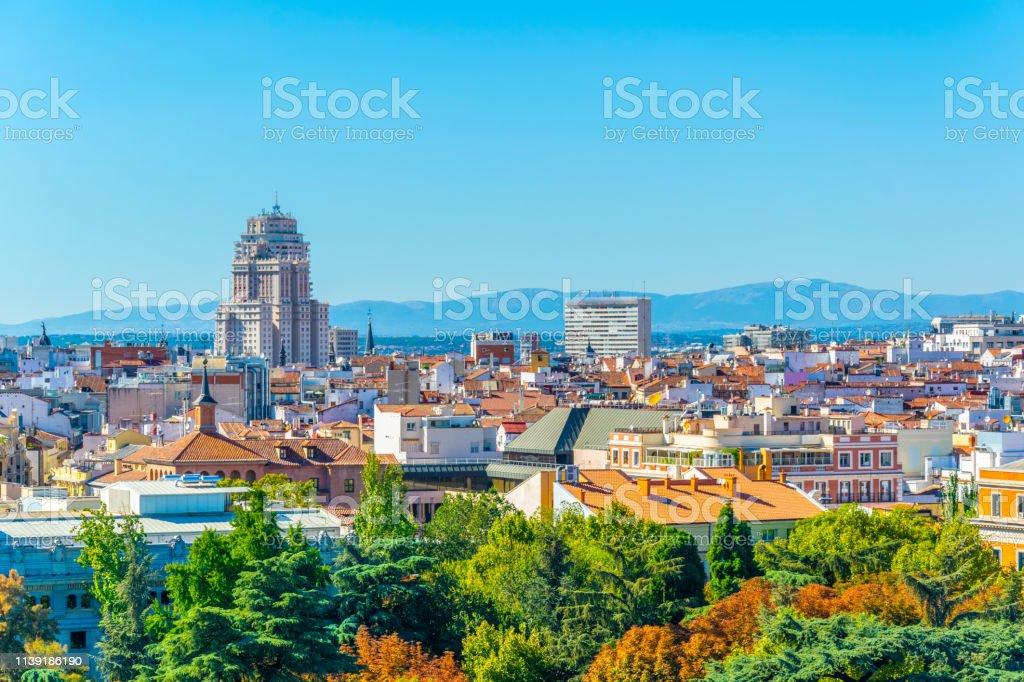 Aerial view of Madrid dominated by Edificio de Espana building, Spain