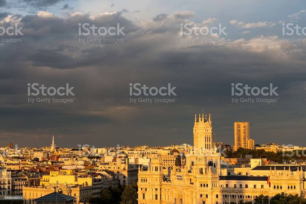 Aerial view of Madrid during the golden hour stock photo