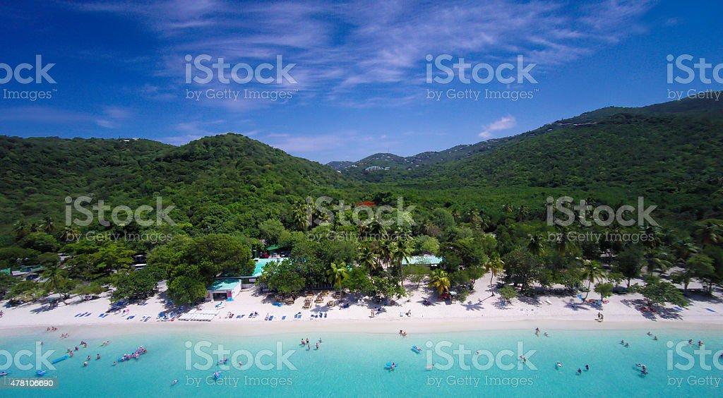 aerial view of Magens Bay Beach in St.Thomas, USVI stock photo