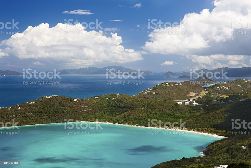 aerial view of Magens Bay in Saint Thomas, Virgin Islands stock photo