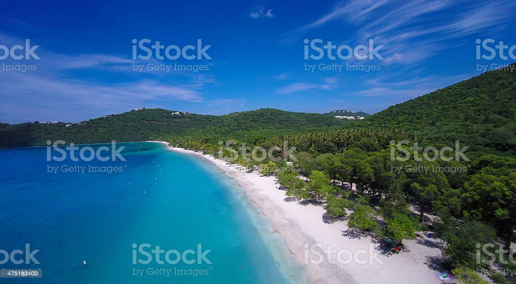 aerial view of Magens Bay in St.Thomas, US Virgin Islands stock photo