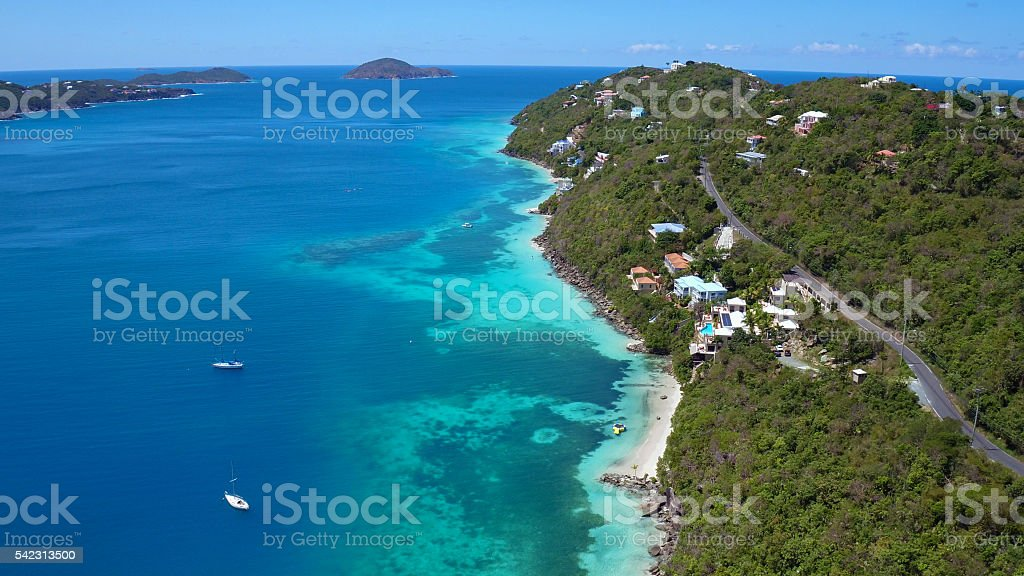 Aerial view of Magens Bay, St Thomas stock photo