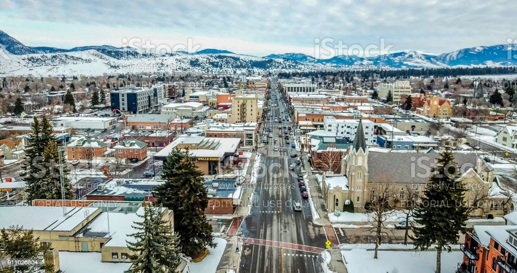 Aerial view of Main Street in Bozeman Montana stock photo