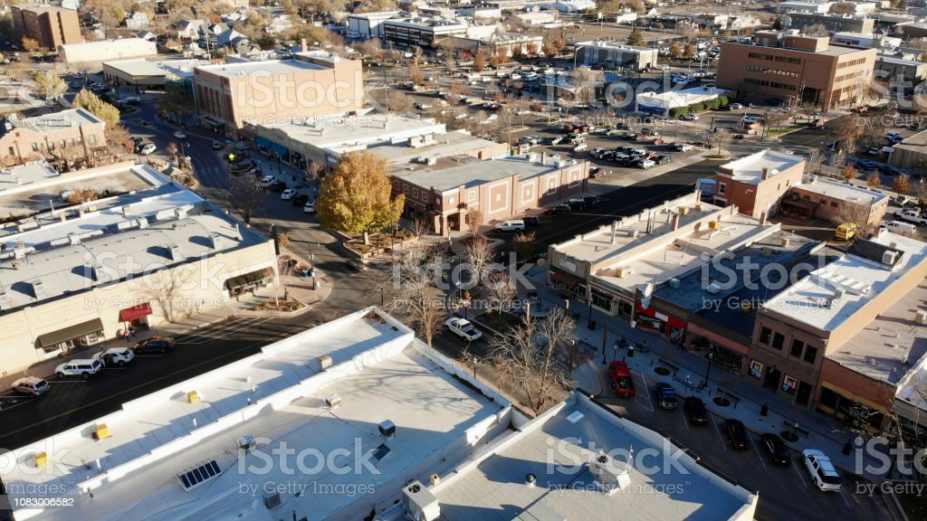 Aerial View of Main Street USA From an Angle stock photo
