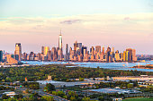 istock Aerial View of Majestic New York Skyline 600382586