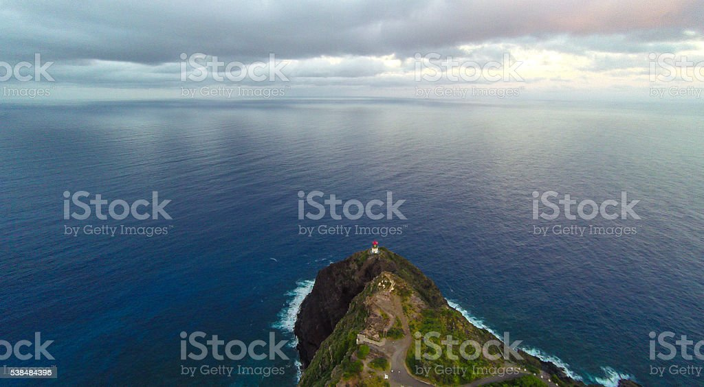 Aerial view of Makapuu Lighthouse stock photo