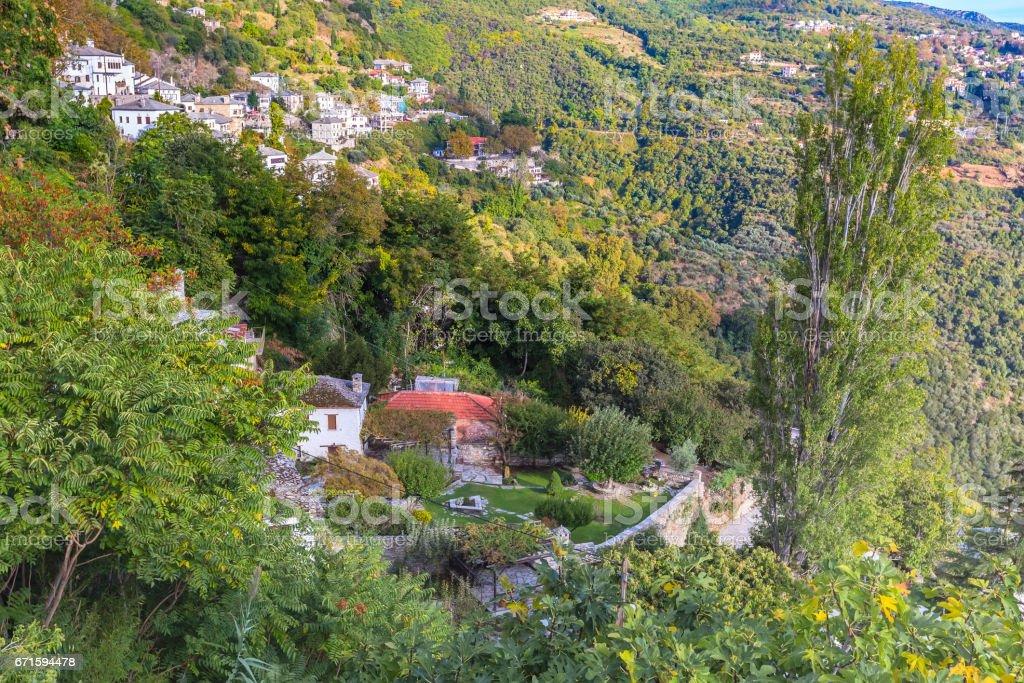 Aerial view of Makrinitsa village in Pelion, Greece stock photo