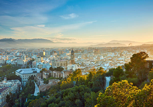 Aerial view of Malaga in sunset lights. Spain - foto de stock