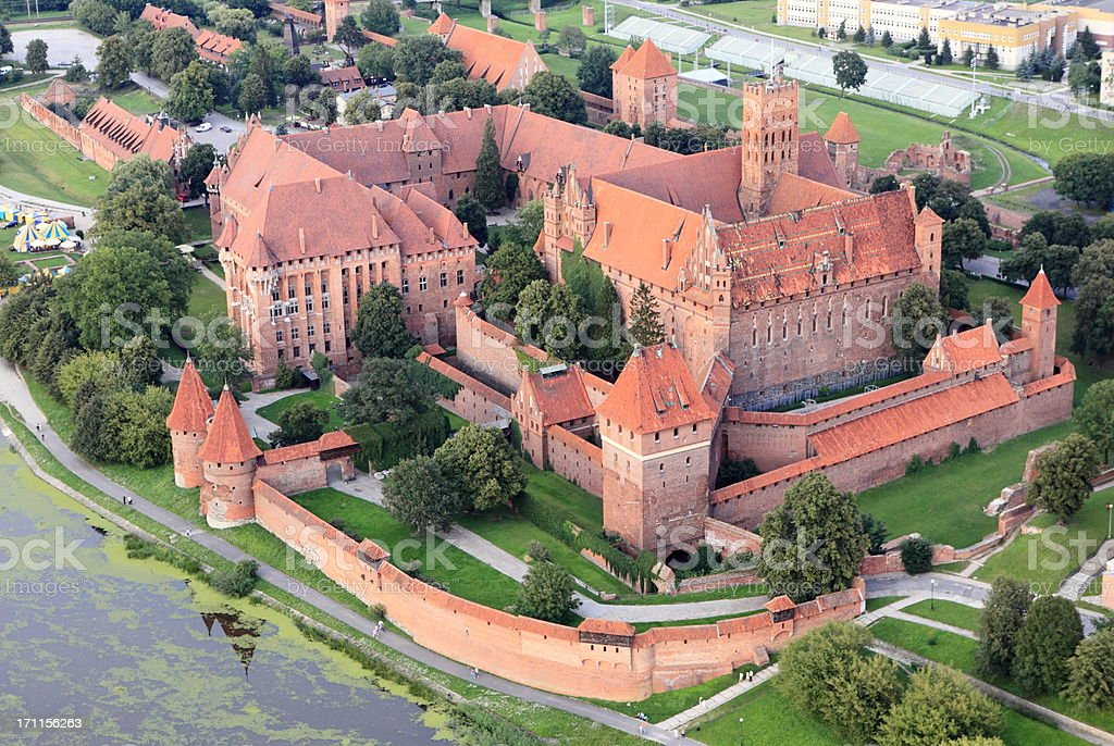 Aerial View of Malbork Castle stock photo
