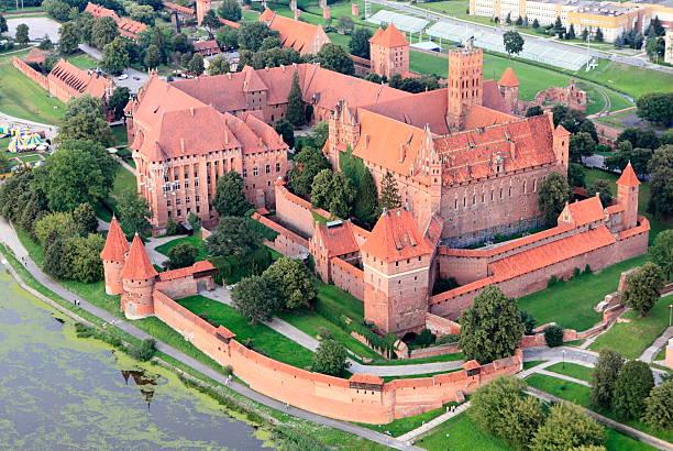 Aerial View of Malbork Castle stock photo