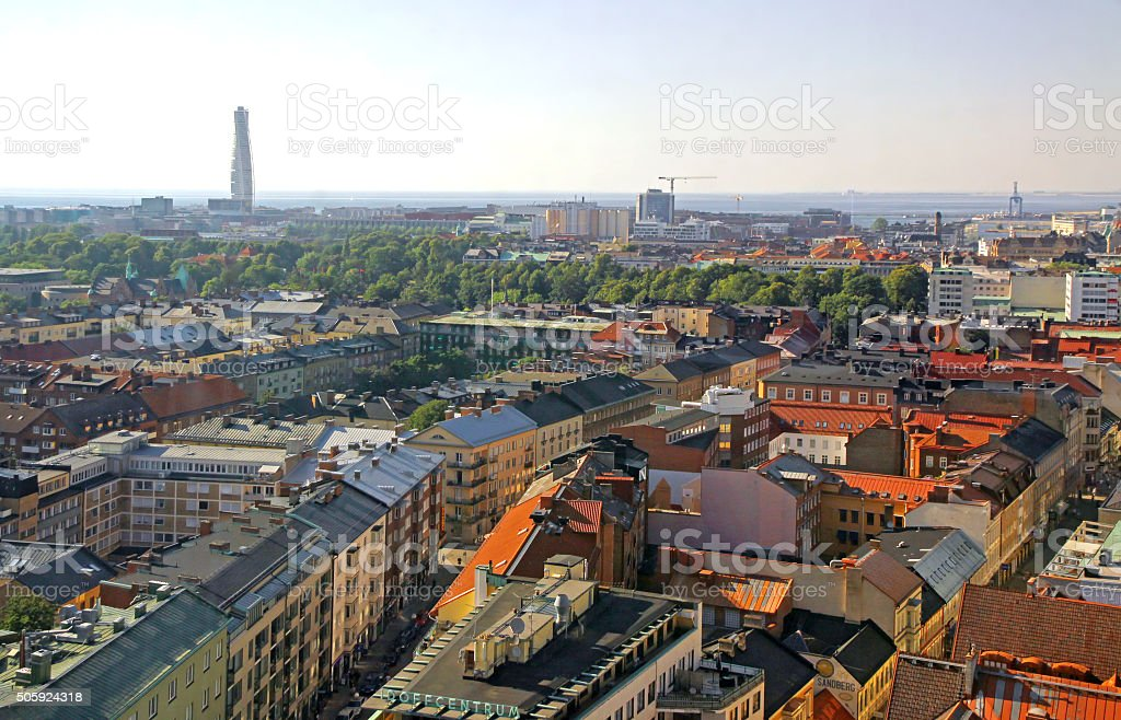 Aerial view of Malmo city, Sweden stock photo