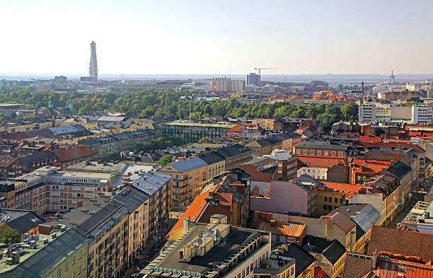 aerial view of malmo city, sweden - malmö bildbanksfoton och bilder