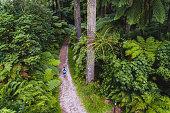 Healthy lifestyle man running in Rotorua, New Zealand.