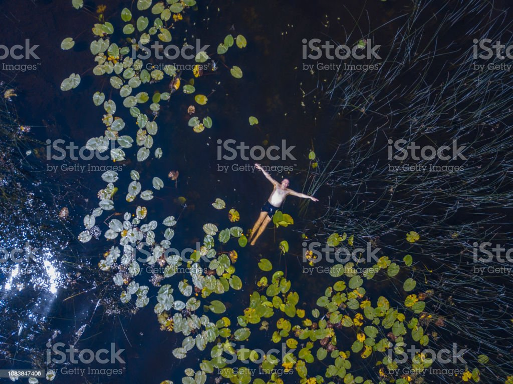 Aerial view of man swimming in a lake in summer, Roscommon, Ireland. stock photo