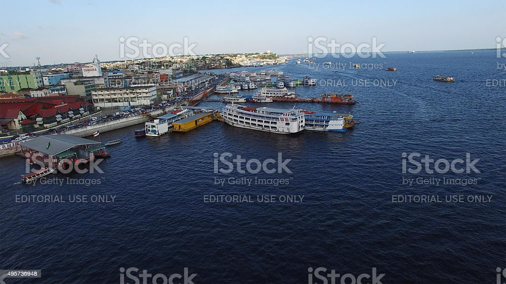 Aerial view of Manaus Harbor in Brazil stock photo