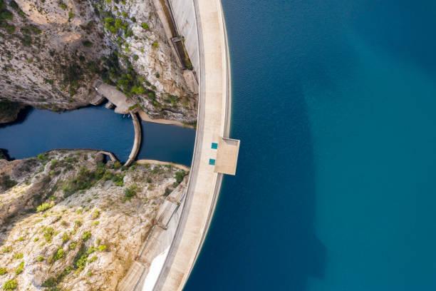 aerial view of manavgat dam - энергия воды стоковые фото и изображения