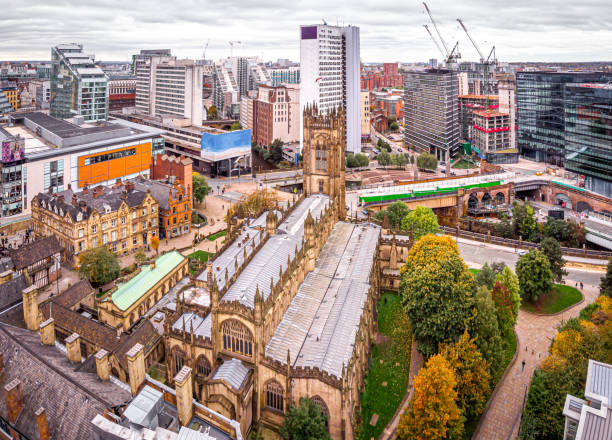 Aerial view of Manchester in the autumn, United Kingdom stock photo