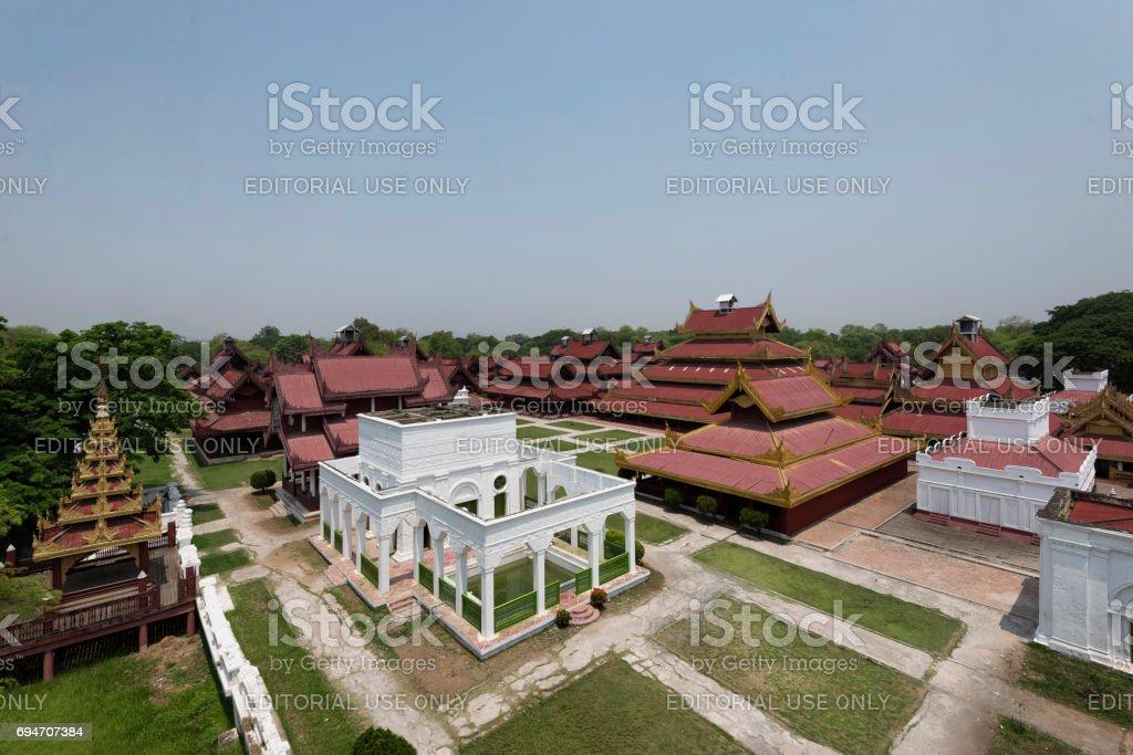 Aerial view of Mandalay Palace, Mandalay, Myanmar stock photo