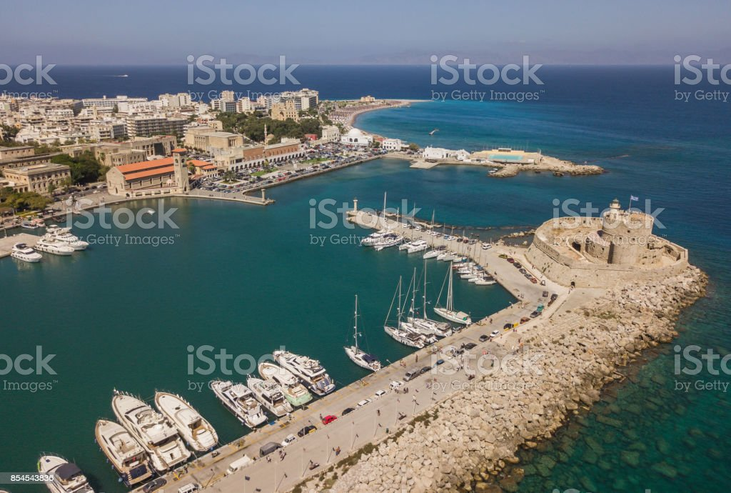 Aerial view of Mandrake port and Fort of St. Nicholas stock photo