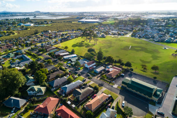 Aerial View of Mangere, Auckland stock photo