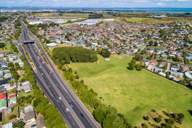 Aerial View of Mangere East stock photo