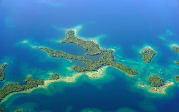 Aerial view of mangrove islands Caribbean sea stock photo
