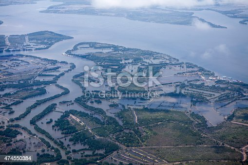Aerial image looking down on the Welu River estuary, Thailand, reknowned for its mangrove forest ecosystem.