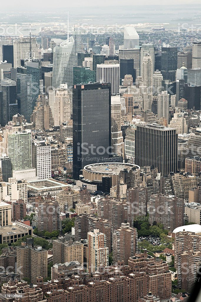 Aerial View of Manhattan and Madison Square Garden, New York stock photo
