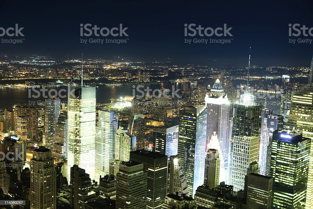 Aerial view of Manhattan and Time Square by night royalty-free stock photo