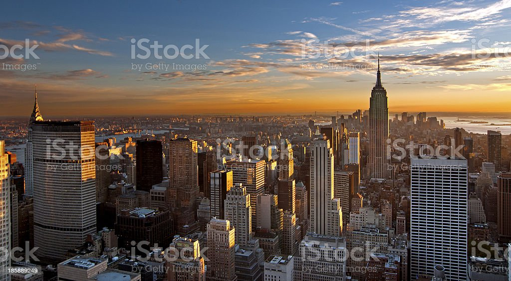 Aerial view of Manhattan at sunset stock photo